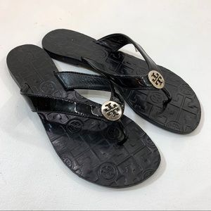 Tory Burch Thora Thong Sandals, Black, Size 7